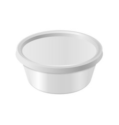 Oval white plastic box for your design and logo vector