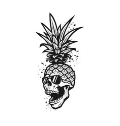 Pineapple skull in a sunglasses tee shirt vector