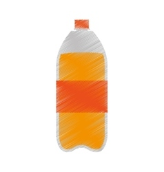 Plastic bottle orange juice icon vector