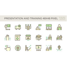 Presentation and training icon set design 48x48 vector