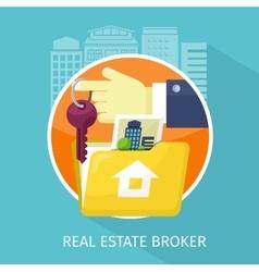 Real Estate Broker Design Flat vector