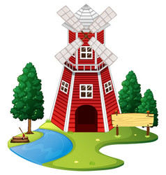 scene with red windmill on the farm vector image