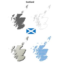 Scotland outline map set vector image