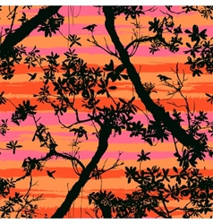 Seamless floral pattern with trees vector image
