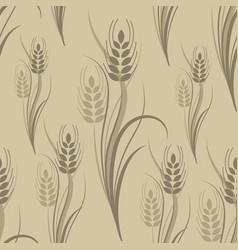 Seamless pattern with brown wheat spikelets vector