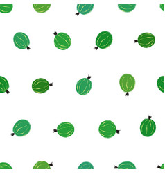 Seamless pattern with green gooseberry vector