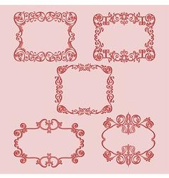 Set frame pattern red vector
