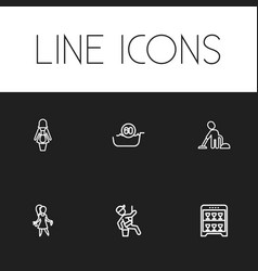 Set of 6 editable hygiene icons includes symbols vector