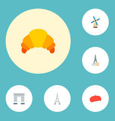 set of europe icons flat style symbols with beret vector image