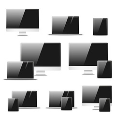 Set realistic computer equipment Isolated notebook vector