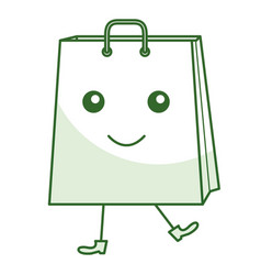 Shopping bag comic character vector