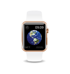 Smart watch white earth vector