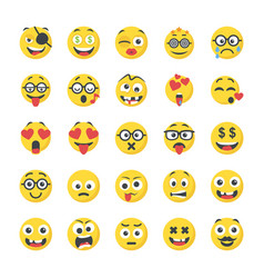 Smiley flat icons pack vector