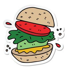 Sticker of a quirky hand drawn cartoon veggie vector