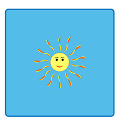 The sun sign on blue background vector
