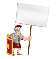Tough roman soldier holding sign board vector