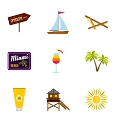Tourism in Miami icons set flat style vector