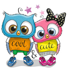 Two cute owls on a white background vector