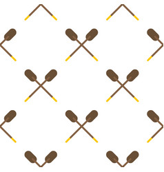 Two wooden crossed oars pattern flat vector