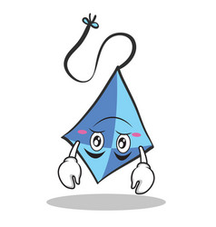 Upside down blue kite character cartoon vector