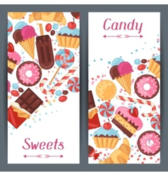 Vertical banners with colorful candy sweets and vector
