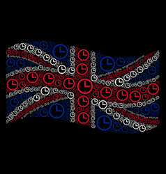 Waving united kingdom flag collage of time icons vector