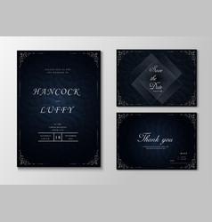 Wedding invitation card template with dark blue vector