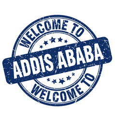 Welcome to addis ababa blue round vintage stamp vector