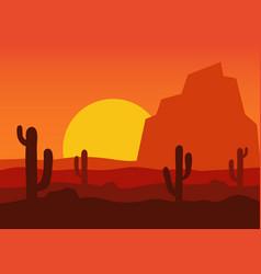 Western desert landscape vector
