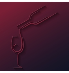 wine glass bottle paper cut background vector image