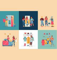 women in store square set vector image