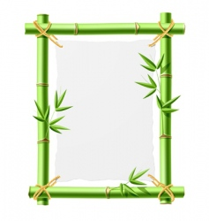 bamboo frame with blank paper vector image vector image