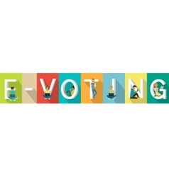 E-voting Concept Web Banner in Flat Design vector image