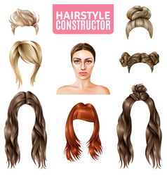 Hairstyles for women constructor vector