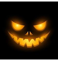 Halloween scary illuminated face in the dark vector image vector image