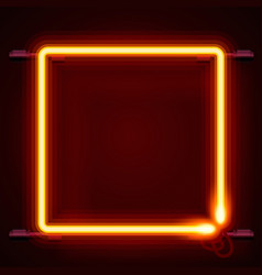neon frame sign in the shape of a square vector image vector image