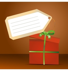 red gift box with green ribbon and tag for vector image