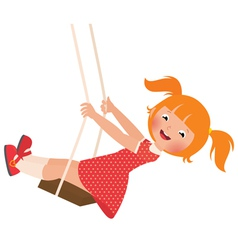 Redhead girl on a swing vector image