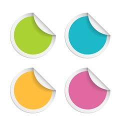 round stickers with curled edge isolated on white vector image vector image