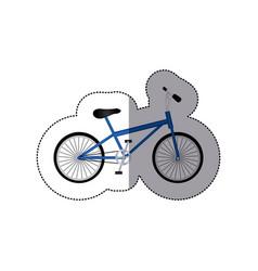 sticker silhouette of small sport bike in white vector image