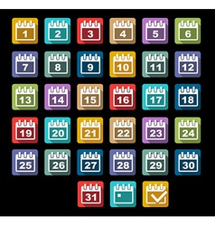 Calendar Day icons set with long shadow vector image vector image