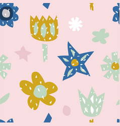 childish seamless pattern with cute flowers vector image