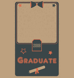 graduation 2018 photo frame graduation ceremony vector image