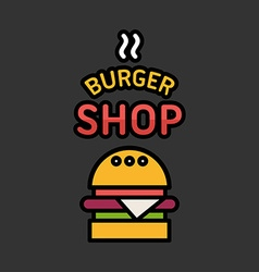 Line Art Icon Design Burger Icon with Text Burger vector image