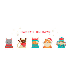 merry christmas banner with cute cats vector image