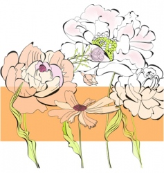 template for card with flowers vector image vector image