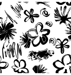 Black and white hand drawn seamless pattern vector image