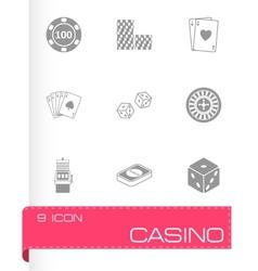 black casino icons set vector image