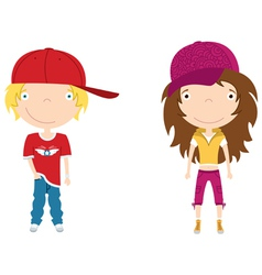 cute modern boy and girl color vector image