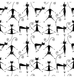 Funny black cats seamless pattern for your design vector image vector image